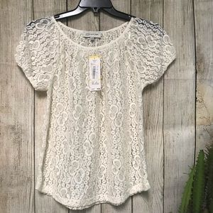 NWT Jones New York Sport White Lace Medium Blouse